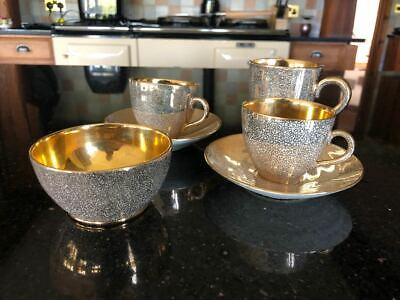 Jersey Pottery Gold Lustre Coffee Cups, Milk Jug And Sugar Bowl • 20.50£