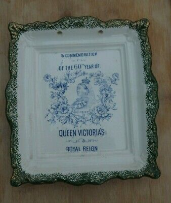 Antique Queen Victoria Commemorative Wall Plaque Plate  60 Years Of Royal Reign • 20£