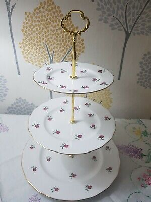 Vintage Colclough Pink Rosebuds Fragrance Bone China Three Tier Cake Stand Vgc • 19.99£
