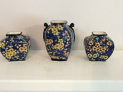 Beautiful VINTAGE ROYAL DOULTON Art Deco Prunus D4365 Pattern Small Vases X3  • 39.99£