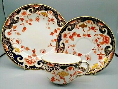 Antique English Porcelain Royal Crown Derby Trio Tea Coffee Cup & Saucer 1896 • 48£