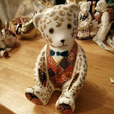 Royal Crown Derby 'Teddy Bear' Imari Paperweight Model Gold Stopper Perfect • 65£