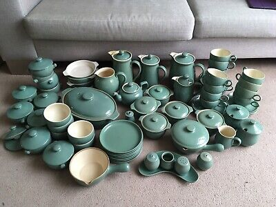 Denby Manor Green 71 Set Of Plates, Cups, Serving Dishes, Casserole, Coffee, Tea • 25£