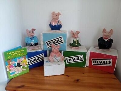 NATWEST Pig Moneyboxes Full Family Set Of 5 Pigs, WADE, Original Stoppers • 106£