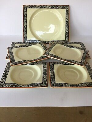 7X Vintage The Biarritz Royal Staffordshire Rectangular Plates, Art Deco Flowers • 17.50£