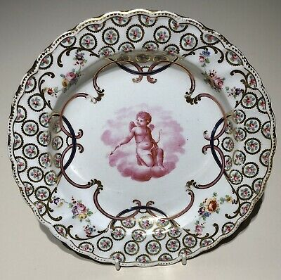 Derby C1800 Dessert Plate Painted With Cupid & Roses. • 23£
