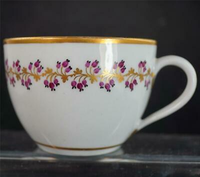 C1810 ANTIQUE BUTE SHAPE TEA CUP FLORAL GILT BAND POSSIBLY NEWHALL H • 19.99£