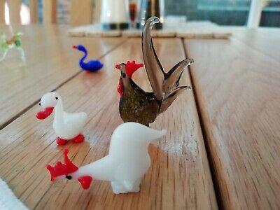 Murano Glass Miniature Collection Of 4 Birds • 6.30£