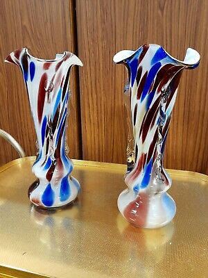 Pair Vintage Murano End Of Day Overlay Glass Vases C.1960 • 100£