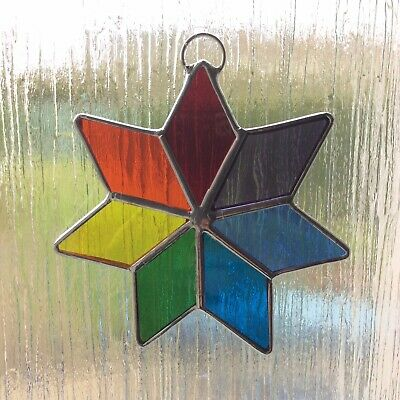 Star Stained Glass Suncatcher Rainbow Window Decoration Handmade • 10£