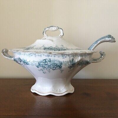 Large Blue & White Floral Oval Tureen Lid Ladle John Maddock & Sons Circa 1900 • 50£