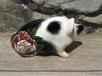 Wemyss Ware Pottery Limited Only 1 Made Japanese Flower Tattoo Christmas Pig • 125£