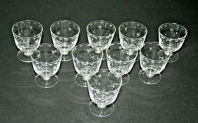 10 Antique Shot Glasses With Etched Star Decoration And Initials Monogram SBE • 18£