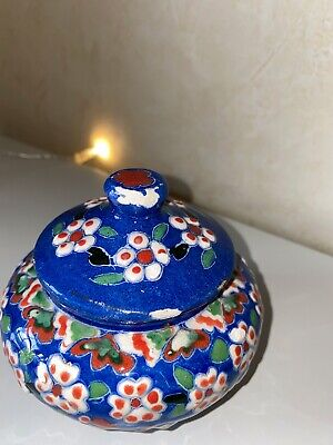 Turkish Blue Red Floral Kutahya Gumus Gini Pottery Small Lidded Dish • 31.67£