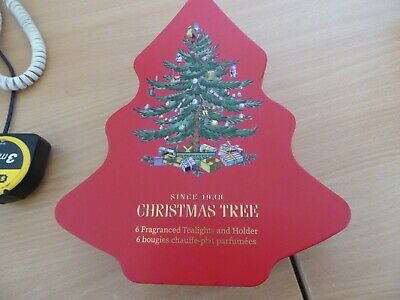 BNWT Collectors Spode Christmas Tree 6 Tealights And Holders • 13£