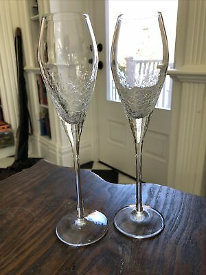 Pier 1 REFLECTIONS CRACKLE 2 Champagne Flutes, Mint CONDITION • 26.16£