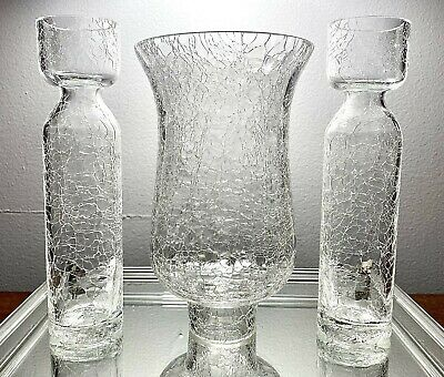 "3PCS MCM Blenko Clear Crackle Glass Pair 8"" Vases & 7.5"" Hurricane Lamp Fitter • 36.48£"
