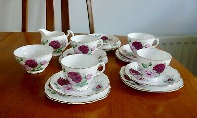 Vintage Royal Vale English Bone China Pink Red Rose Part Tea Set 17 Piece Cups  • 28£