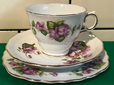 Vintage Tea Set Trio - Tea Cup, Saucer, Tea Plate - Bone China - Royal Vale • 10£