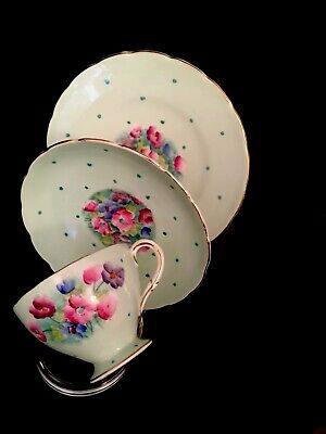 Vintage Rare Green Foley/Shelley,   Hand Painted Trio - Anemones • 29.95£