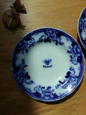 3 Antique Soup Dishes  John Maddock & Sons -blue &white Belfast Bumble Bees  • 15£