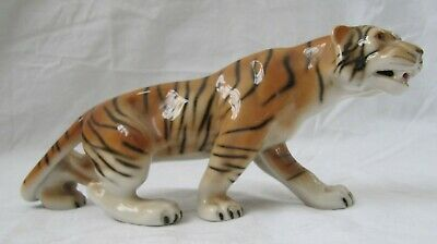 Prowling China Tiger Ornament. Royal Dux Bohemia. Approx 8  (20cm). Pre Owned. • 10£