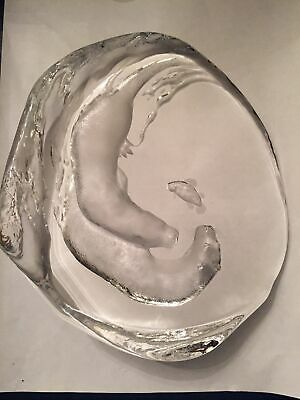 LARGE Playing Otters Etched Crystal Sculpture By Mats Jonasson Signed & Numbered • 58.95£