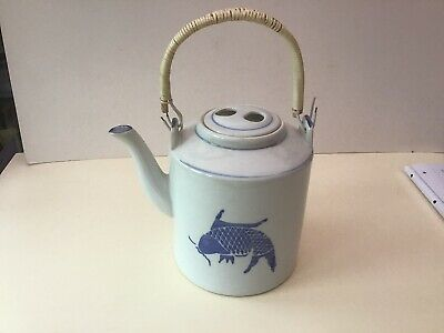 Huge Old Chinese Blue And White Teapot Handpainted Fish On 2 Faces  Heavy VGC • 39£