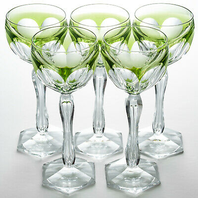 Five Hock Glasses Green Cut To Clear Bubble In Stem Hexagonal Foot • 54.99£
