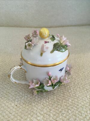 Meissen Chocolate Cup Encrusted With Flowers C 1850 • 595£
