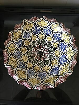 Safi Moroccan Pottery Large Wall Plate Bowl Pattern Hand Painted Decorative Art • 25£