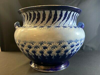 A Large Blue & White Antique George Jones And Sons Imperial Ware Planter • 85£