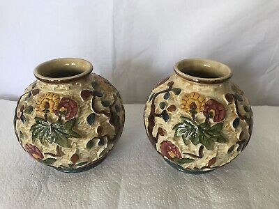 STAFFORDSHIRE POTTERY INDIAN TREE DESIGN HAND PAINTED H. J WOOD VASE X 2 PAIR • 17.49£