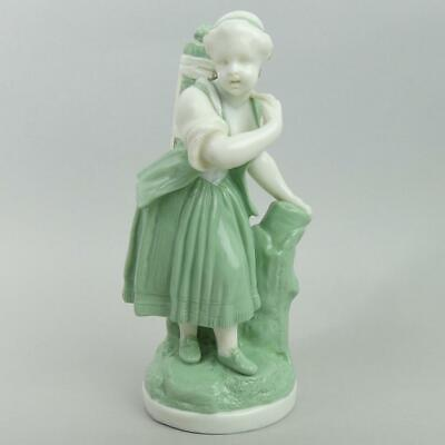 Antique Minton Green And White Porcelain Figure C1850 • 10.49£