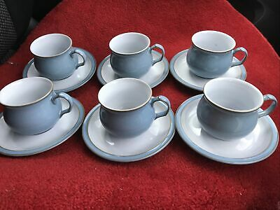 Denby Colonial Blue Tea Cups And Saucers X 6 • 24£