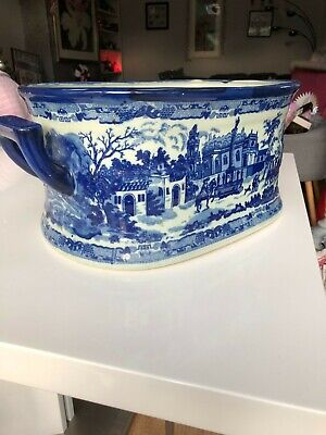 Victorian Ware Blue And White Foot Bath/planter Vintage Pottery • 150£