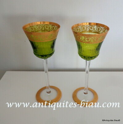 1 Glass Roemers Color Chartreuse Hocks In Crystal St-Louis Thistle Gold 8.2 Inch • 310.14£