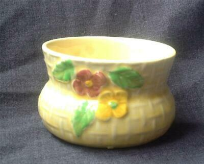Vintage Pale Yellow WADE HEATH Sugar Bowl Basket Weave Pot With Pansy Flowers • 14.95£