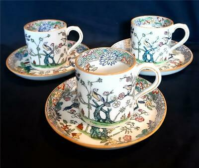ANTIQUE MINTON EMPEROR'S GARDEN 3 X COFFEE CUPS AND SAUCERS CHINESE STYLE • 40£