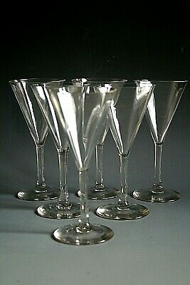 Set Of Six Antique Victorian Sherry Glasses With Ribbed Bowls • 39£