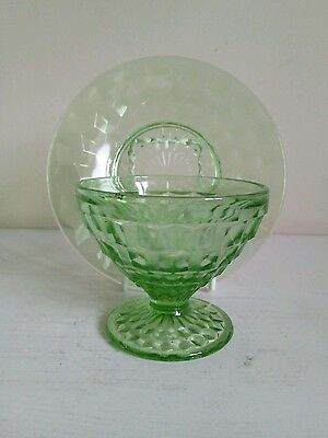 Jeanette Green  Cube  Depression Glass Sherbert Cup And Saucer • 8£