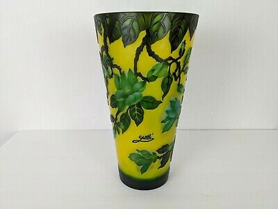 Emile Galle' Reproduction Large Yellow Vase With Green Leaves 11 3/4″ Tall • 180.90£