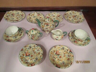 TEA FOR TWO, VINTAGE CHINTZ By EMPIRE WARE,  EXOTIC BIRDS , 13 PIECES, VGC   • 73.62£