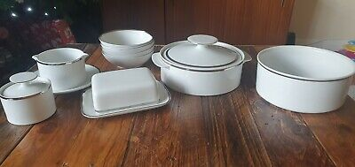 Thomas Porcelain Germany Platinum Medallion Silver Dinner  Set • 70£