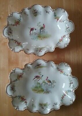 George Jones Crescent China Dishes Birds Of Paradise. 1893 To 1921. • 110£