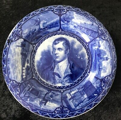 Robert Burns Opaque China Blue Plate-Rd No 425142-scenes Of His Life Around Rim • 7.99£