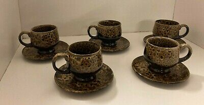 5 X Vintage 1960's Cannonsburg  Brown Drip Glaze Cups & Saucers • 35£