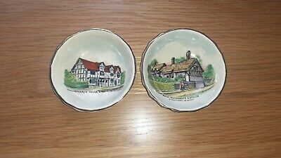 Pair Of Goss Shakespeare And Anne Hathaway Pin Dishes • 8£