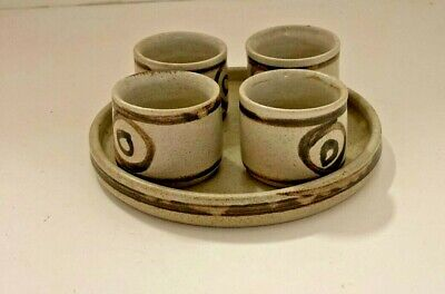 Vintage Welsh Studio Pottery Egg Cups & Tray • 18£