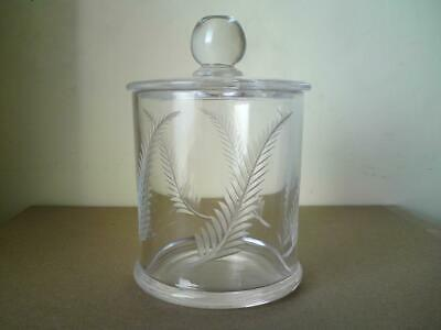 FORTNUM & MASON Hand Cut Georgian Style Fern Glass Crystalware Lidded Jar • 45£